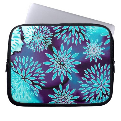 Floral Pattern and Watercolor Abstract Painting Laptop Computer Sleeves