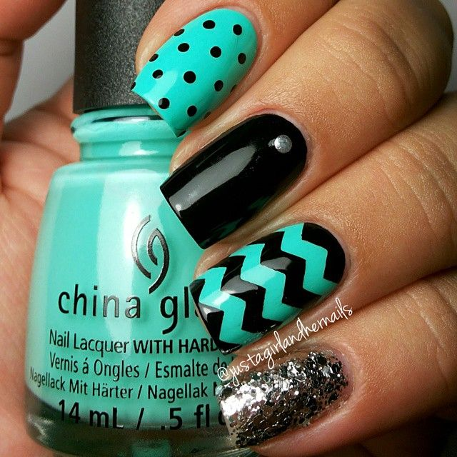 Aqua and black nails