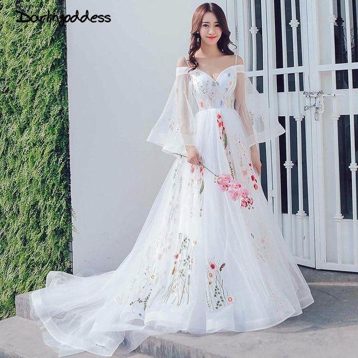 Echt Bilder Strand Hochzeitskleid 2018 Spaghettibügel Bunte Stickerei Spitze Boho Brautkleider Schwangere Fotografie Kleid – Thời trang nữ