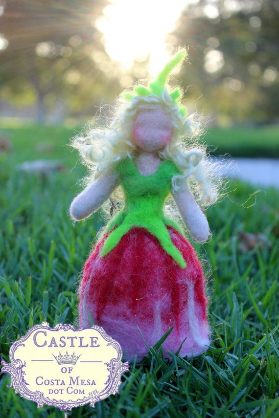 Topsy Turvy Needle-felted Tulip Flower Fairy. Waldorf Spring Nature Table Top puppet Dolls. Castle of Costa Mesa