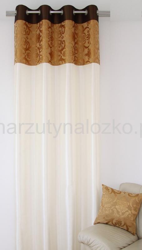 Gotowa jasnobezowa zasłona z brązowo złotym pasem