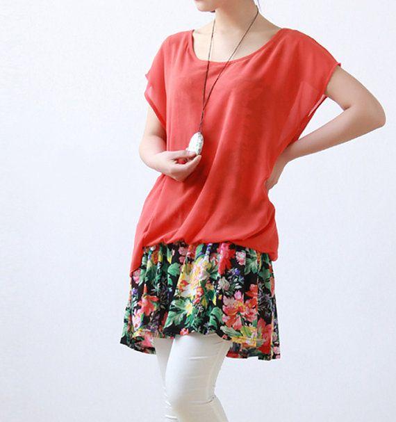 Fashion jacinth Chiffon dress Women Summer Large size by MaLieb, $69.00