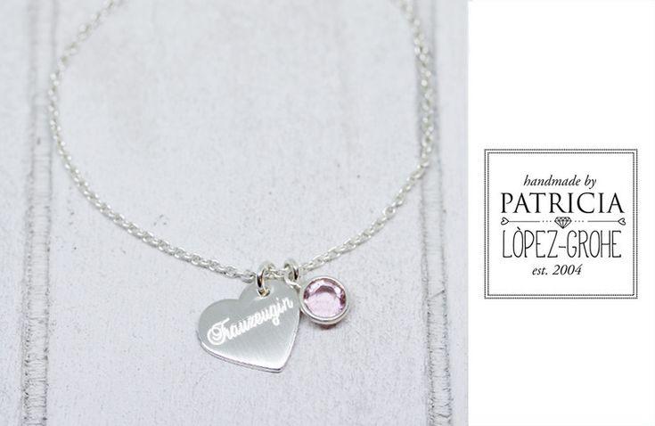 Gastgeschenke - Trauzeugin  Armband 925 / - Gravur  Herz Hochzeit - ein Designerstück von Grohe-Schmuck bei DaWanda