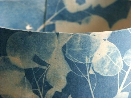 ceramic vessel with cyanotype by Deirdre Hawthorne