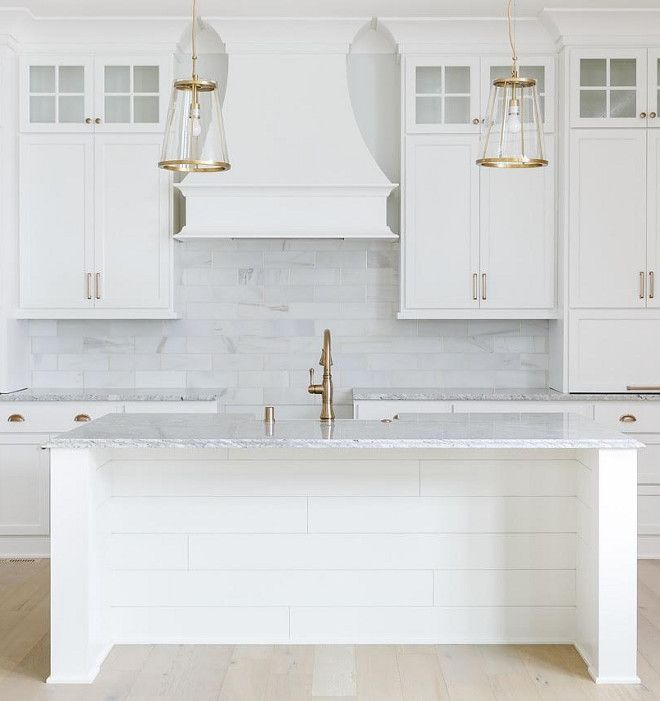 Shiplap kitchen island. White Shiplap kitchen island. Kitchen island features shiplap paneling. White Shiplap kitchen island ideas #Shiplapkitchenisland #WhiteShiplapkitchenisland #Shiplap #kitchenisland Built by Artisan Signature Homes. Interior Design by Gretchen Black from Greyhouse Design.