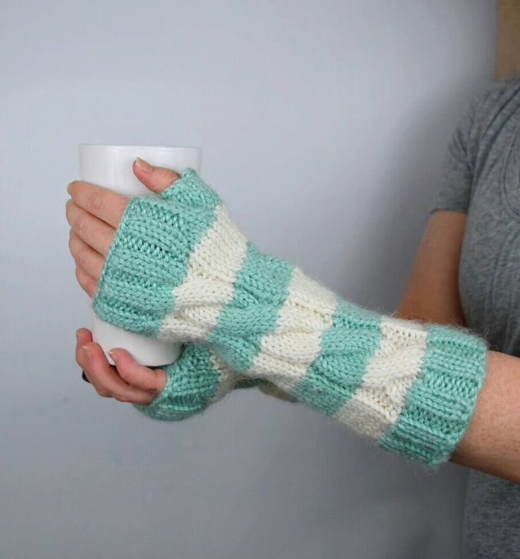 Striped Fingerless Gloves, Long Arm Warmers, Seafoam Green and White, Soft and Warm, Two Color Fingerless Mitts, Wrist Warmers, Gift Ideas by jfaze on Etsy