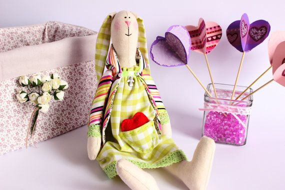 Easter Bunny rabbit  Tilda inspired doll Sweet fabric by TildaArt