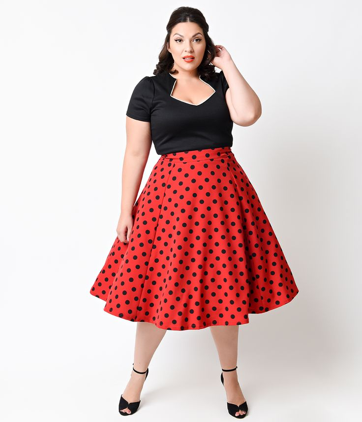 1950s swing skirt. Plus Size Red  Black Dot High Waisted Thrills Circle Skirt $52.00 AT vintagedancer.com