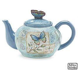 Mariposa Garden Blue Butterfly Ceramic Teapot