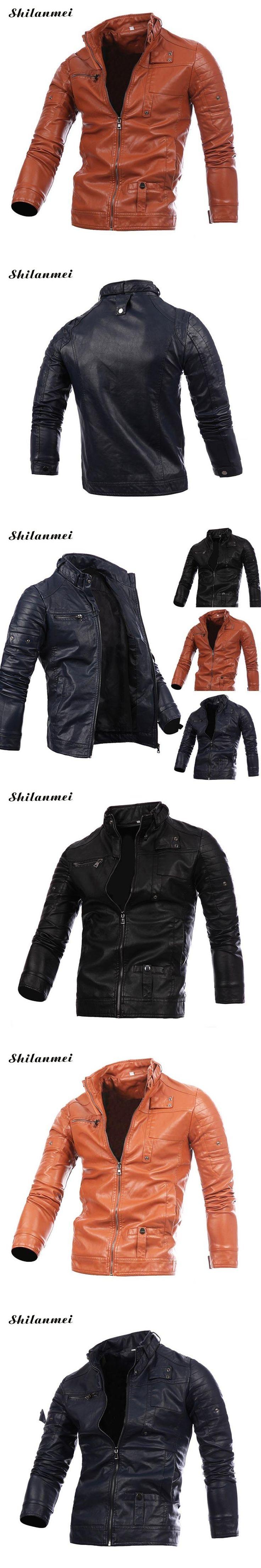 Winter PU Leather Jacket Men Blue Coat for Man Slim Zipper Black Outwear Spliced Brown Khaki Men's Jackets Casual Overcoat
