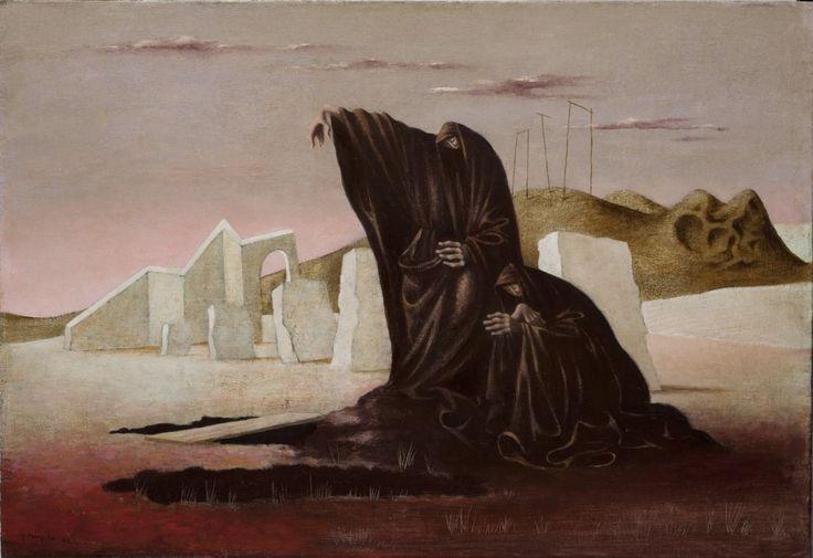 František Muzika (1900- 1974) Ženy nad hroby, 1942 olej, dřevo, 50 x 73 cm