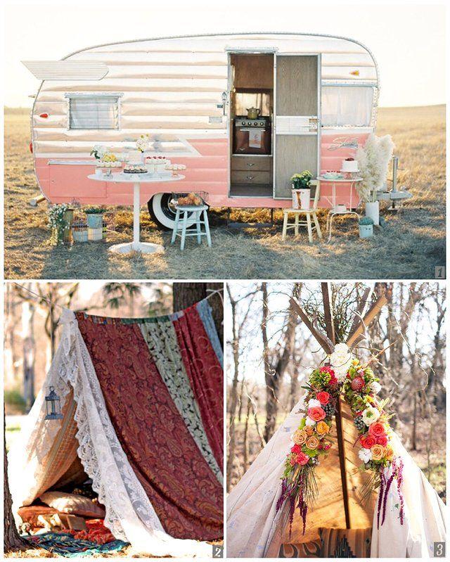 キャンプをもっと豪華に可愛くグラマラスに楽しむグランピングがテーマの結婚式とパーティーのデコレーションアイデア集
