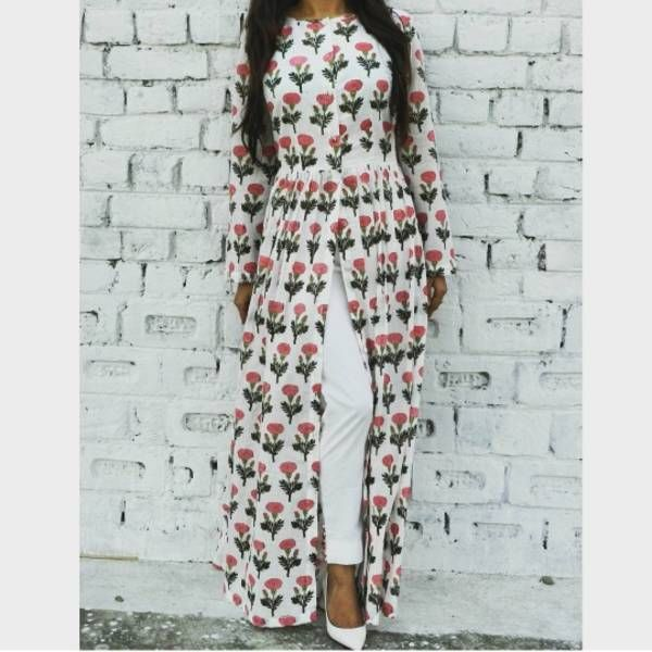 Pink mogra maxi cape | Shop now: www.thesecretlabel.com
