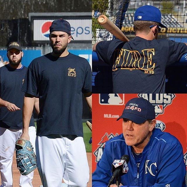 The Royals wore gear to honor the two fallen heroes of the Kansas City Fire Department at today's workout. #KCFD #ALDS #TakeTheCrown