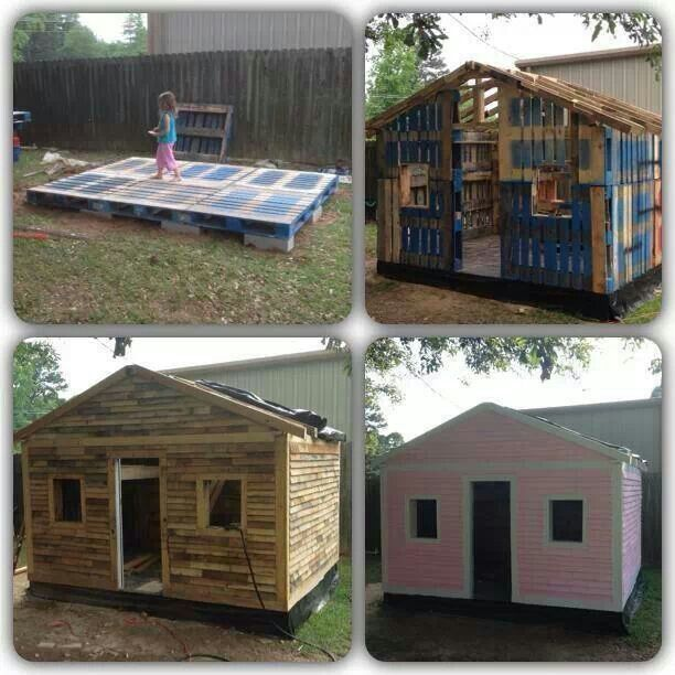 Garden shed, Wendy house, play house made from recycling upcycling wooden pallets, love it