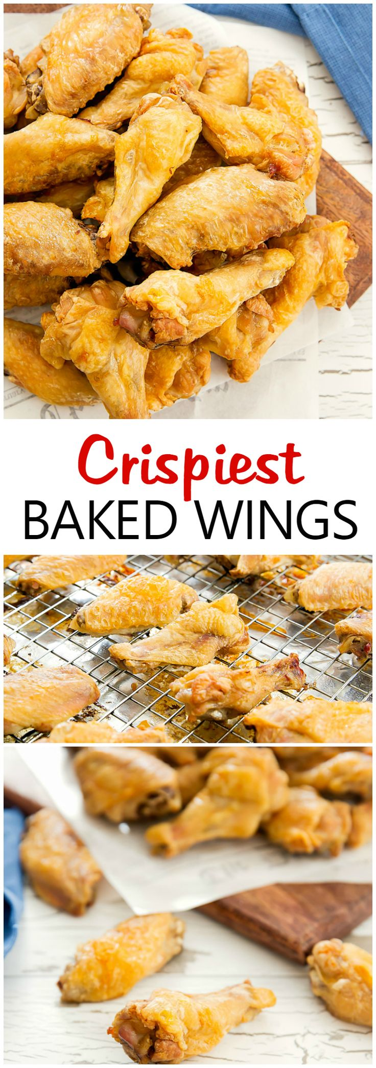 Crispiest Baked Chicken Wings. With one little extra ingredient, these wings come out golden brown with super crispy skin!