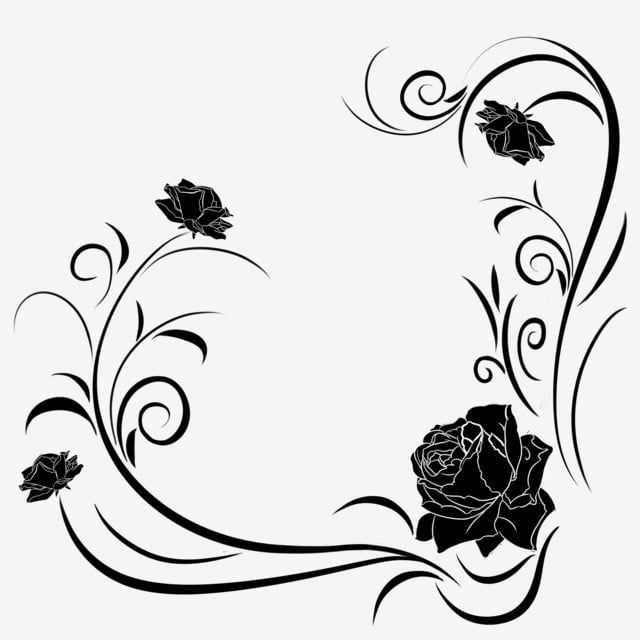 Rose Vine Border Illustration Black Flower Border Spring Plant Border Flower Vine Border Png Transparent Clipart Image And Psd File For Free Download Rose Vines Vine Border Flower Border