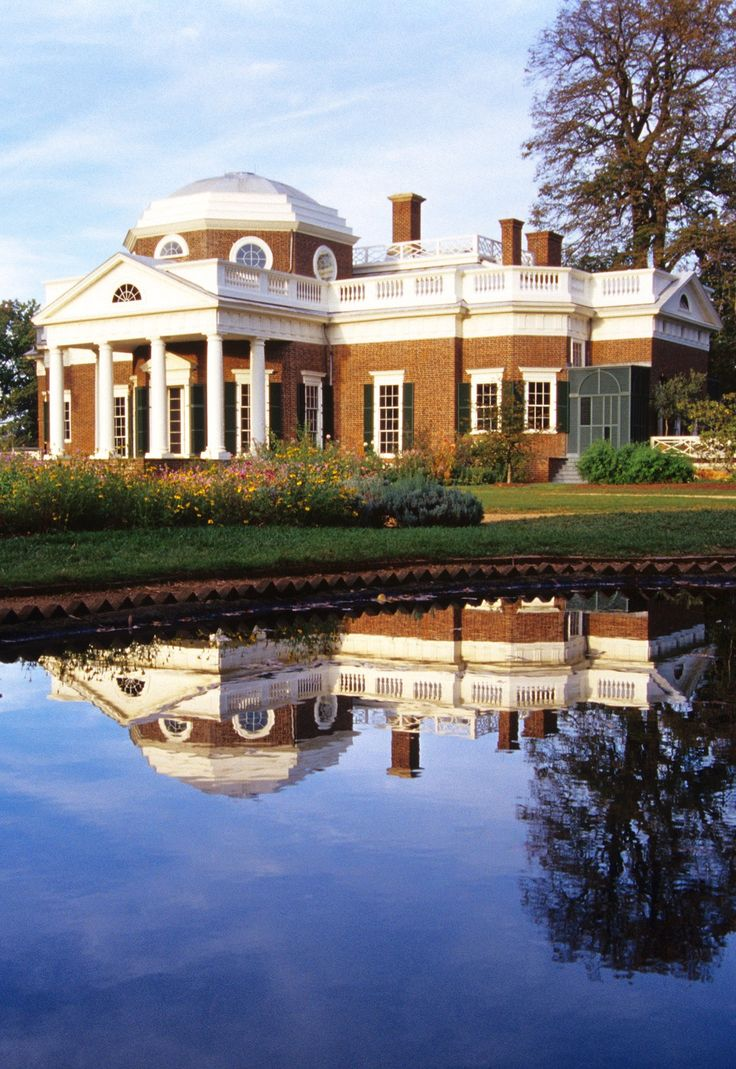 Thomas Jefferson's Monticello, National Historic Landmark, Charlottesville, Virginia -  The plantation was originally 5,000 acres, with extensive cultivation of tobacco and mixed crops, switched over to a wheat later in Jefferson's life, with labor by slaves.