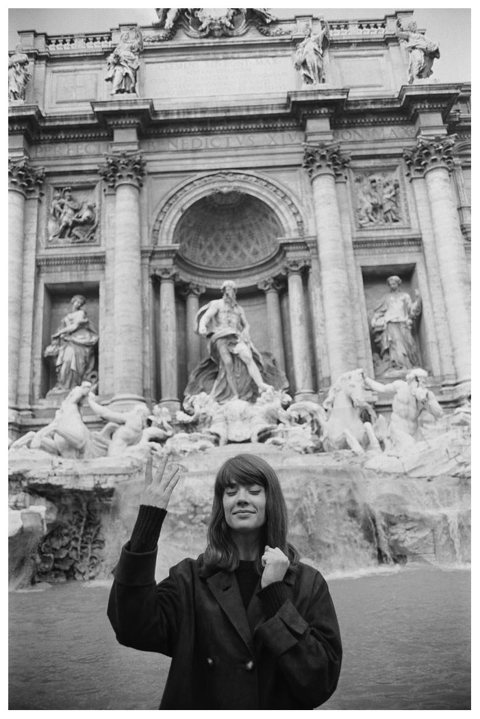 the60sbazaar:  Francoise Hardy flips a coin and makes a wish at Rome's Trevi Fountain