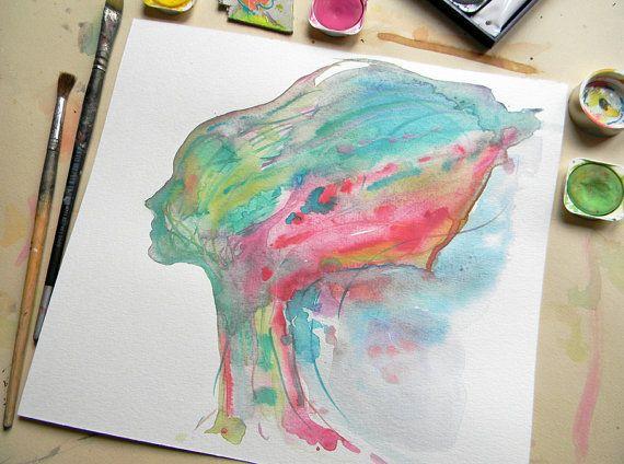 Original abstract watercolor portrait Colorful by AquarelleDream