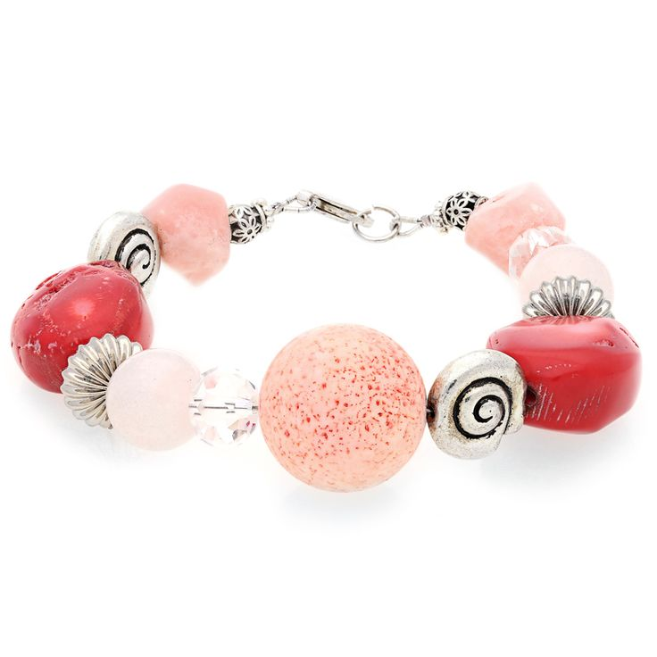 Rose Quartz and Coral Bracelet with Silver Clasp For Sale by Uwe Koetter.    www.uwekoetter.com
