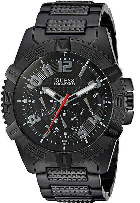 Guess Hombre u0800g2deportivo grande multifunción reloj con iónico Negro Plating