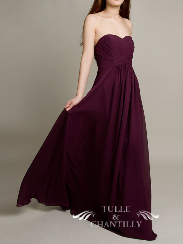 tulle and chantililly bridesmaid store to shop Floor Length A-line Aubergine Dark Purple Bridesmaid Gown 3