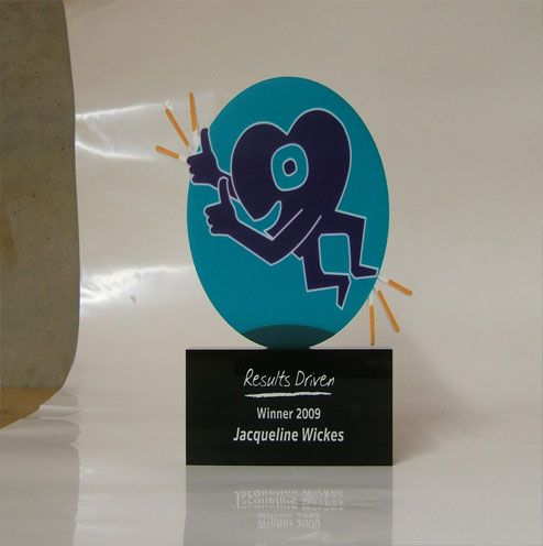 Want something quirky, different, customized…. Here is an example of a custom made, digitally printed award mounted on a black acrylic base, engraved and silver filled.