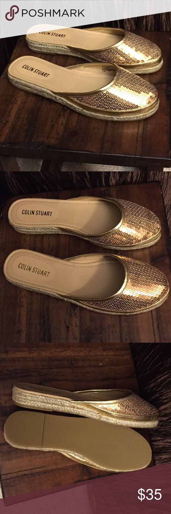 Colin Stuart Flats Sequin-gold slip on flats! Wanna be fancy without the heels, this is for you!  NWOT, size 11M Colin Stuart Shoes Flats & Loafers