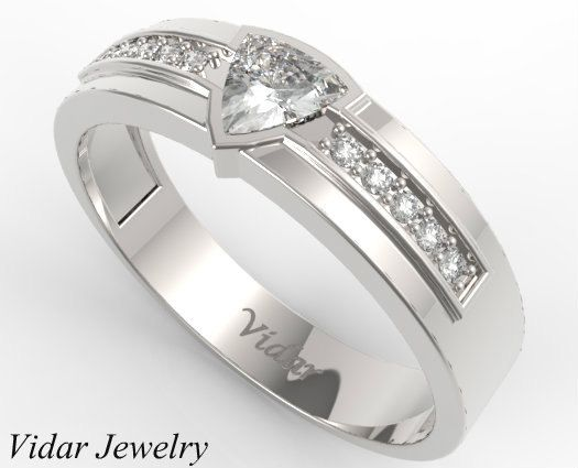 trillion cut diamond wedding band for a men in 14k white gold unique wedding ring - Cool Wedding Rings For Guys