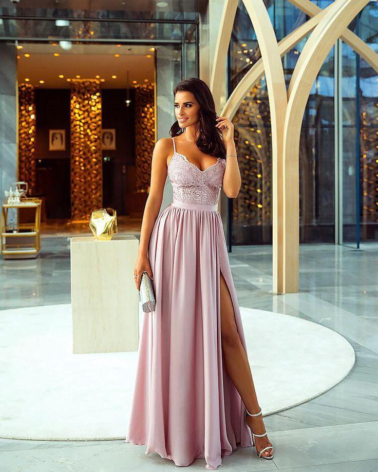 Sukienka Długa z Koronką Silvia Pudrowy Róż