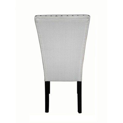 Adorno Upholstered Linen Dining Chairs (Set of 2) Color: Ivory Linen by Monsoon Pacific. $206.99. Finish: (Black). Upholstery materials: (Linen). Materials: (Linen fabric, poplar wood, bronze nail heads). Set includes: (Two chairs). Upholstery color: (Ivory Linen). 222258 Color: Ivory Linen Made with durable linen, a plush seat and back with a transitional feel. These chairs will warm up any dining area and update your decor. Features: -Set includes: Two chairs...