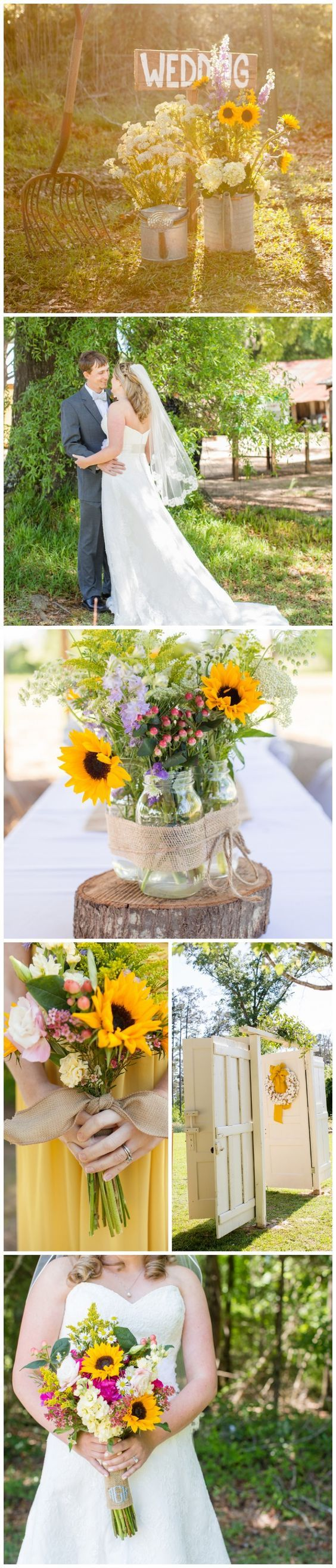 Country Yellow Sunflower Wedding Ideas / http://www.himisspuff.com/country-rustic-wedding-ideas/8/