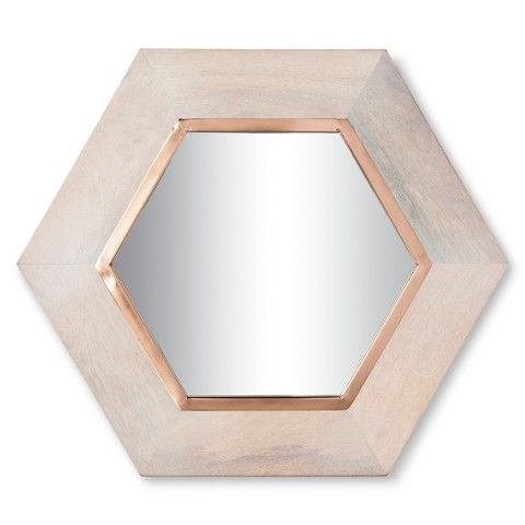 wooden hexagon mirror with copper metal strip c5 item