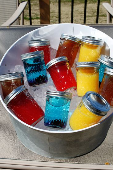 "Put a Lid on It-Mason Jar Coctails  Screwdriver  6 oz Orange Juice  2 oz Vodka    Tiki Fruity Punch  3 oz Fruit punch (I used the ""Aloha"" kind)  3 oz orange juice  2 oz rum    Blue Lagoon  1.5 oz Blue Curaco  Lemonade  Cherry    Half and Half   Half a glass of iced tea  Half a glass of lemonade"
