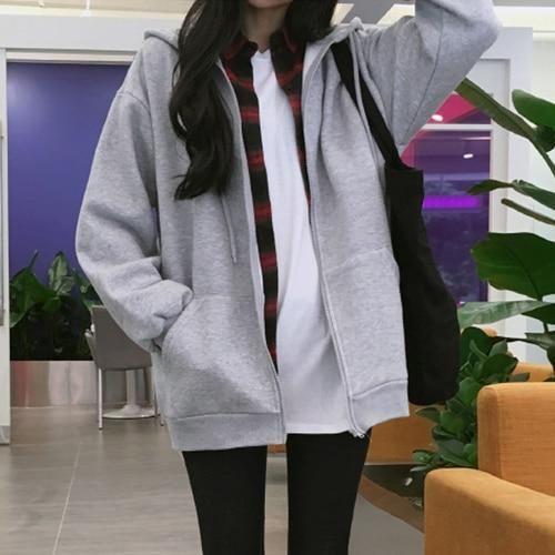 New Fashions Autumn&Winter Women Hoodies Sweatshirts Zipper Long Sleeve Warm Female Thicken Hoodies Drawstring Hoodie Jacket gre