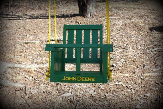 Childs John Deere solid wood painted   swing John by Clemswshop, $68.00