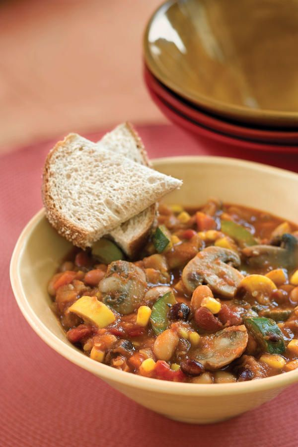 Add a dash of hot sauce to your bowl for extra heat. Use a variety of your favorite beans, if you wish, in this recipe.     Recipe: Slow-Cooker Veggie Chili