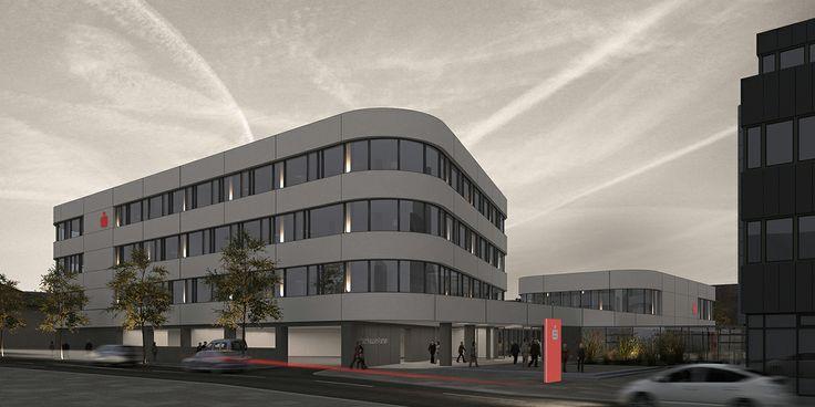 Nachtvisualisierung Kreissparkasse Tuttlingen Straßenseite http://www.link3d.de