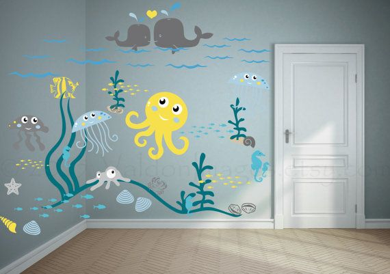 Bring the ocean life in with this nursery wall decal. These kids decals feature a playful ocean theme with fun colorful sea life for your babies nautical nursery. Vinyl decals are a quick way to dress up your childs playroom. +++++This decal measures approximately - 130w x 111h when