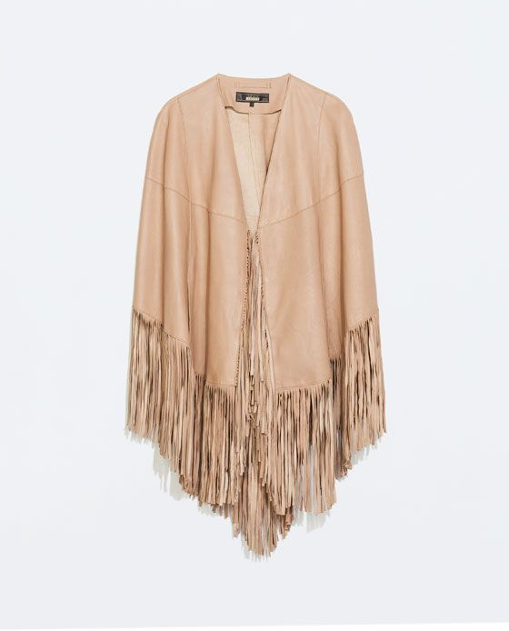 zara femme poncho cuir franges need now pinterest ponchos zara and leather. Black Bedroom Furniture Sets. Home Design Ideas