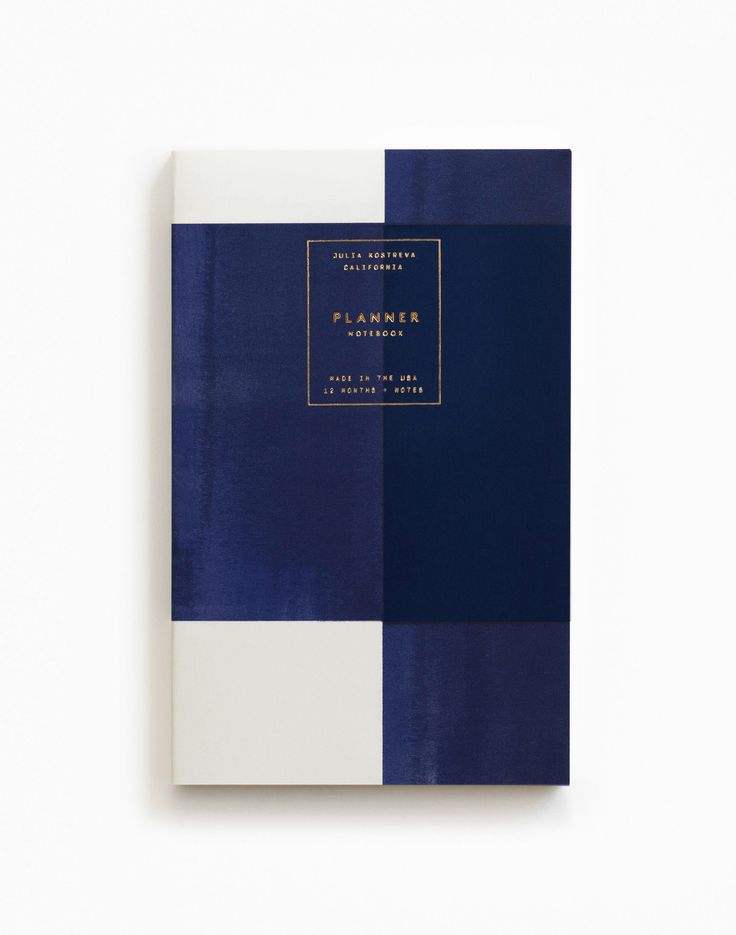 (Julia Kostreva for Need Supply Gold Foil Any-Year Daily Planner - Plaid Indigo)
