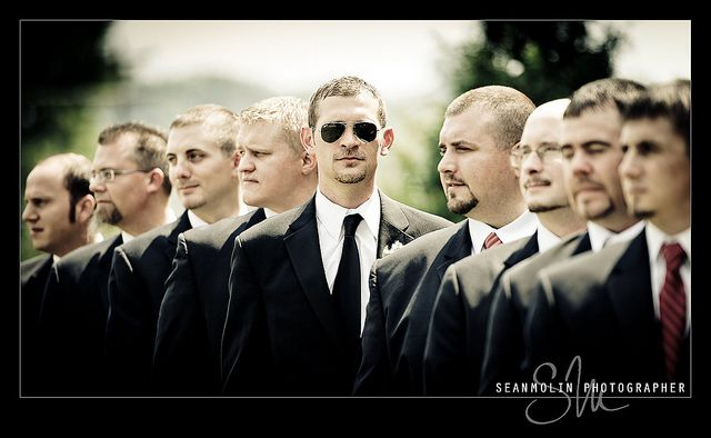 Men in Black type picture of groom and groomsmen. I am going to have sooooo much fun with my wedding pics. lolz