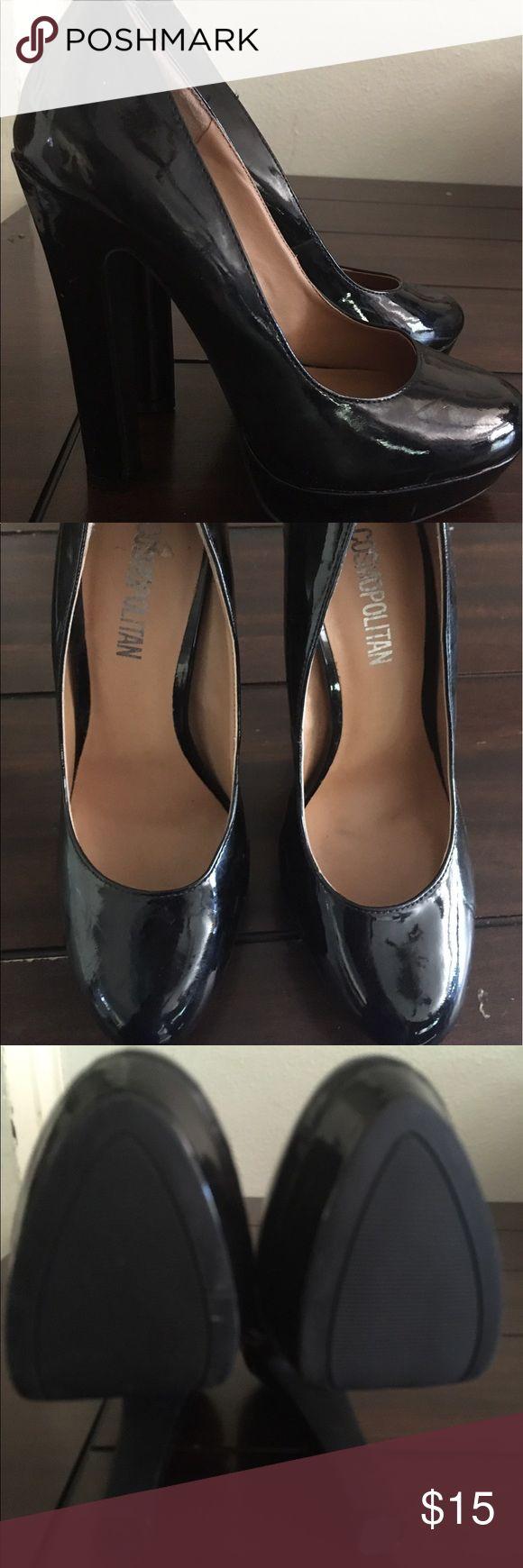 NWT cosmopolitan size 7 black  4 inch heels NWT black size 7 cosmopolitan stacked heel 4 inch pumps. cosmopolitan Shoes Heels