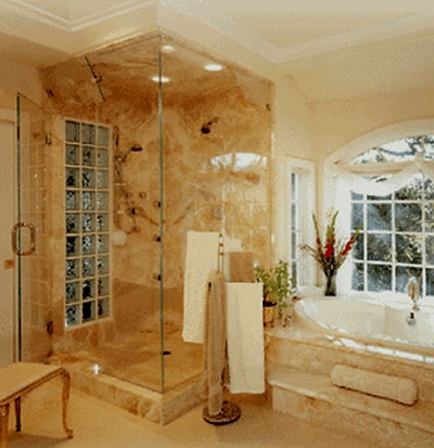 home shower stalls love the stone or marble and even the glass block in the73 best showers images on pinterest. beautiful ideas. Home Design Ideas