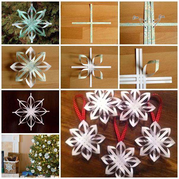 Wonderful DIY Woven Paper Star Snowflake Ornaments   WonderfulDIY.com