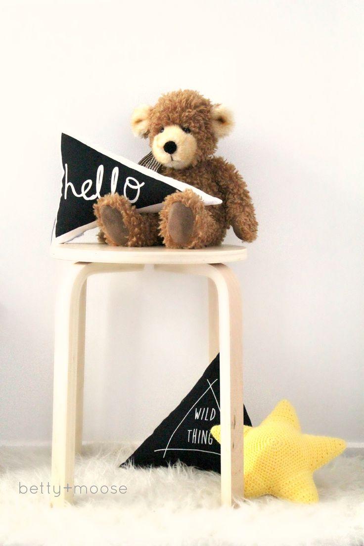 Hello triangle cushion in black by bettyandmoose.com.au