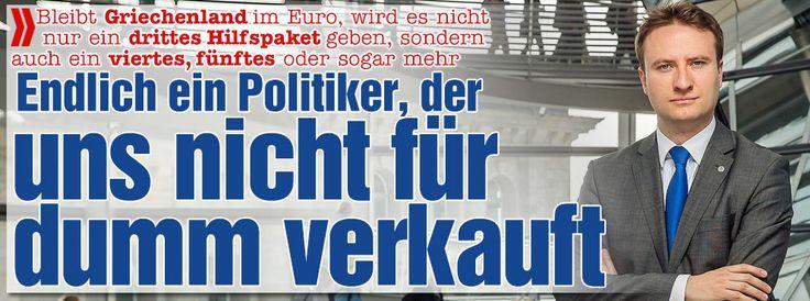 Endlich ein Politiker, der uns nicht für dumm verkauft! http://www.bild.de/politik/ausland/griechenland-krise/endlich-ein-politiker-der-uns-nicht-fuer-dumm-verkauft-40688638.bild.html