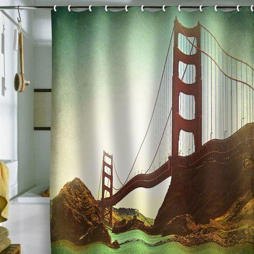 DENY Designs Shannon Clark Retro Golden Gate Shower Curtain, 69 by 72 ...