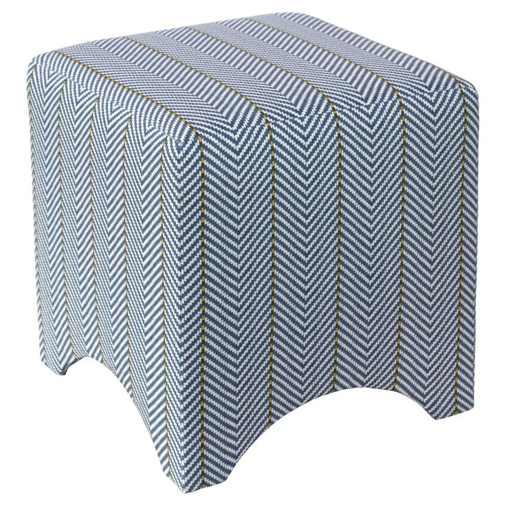 Just as versatile as it is stylish, the Sara Cube Ottoman from Skyline Furniture will make a welcome addition in your living room, vanity area or home office. A great choice for modern or contemporary spaces, this printed cube ottoman boasts a striped pattern in blue and white to instantly elevate your space. The simple silhouette and practical design allow this piece to blend in easily with a variety of decor styles — place it in your living room beside an armchair or sofa for a co...